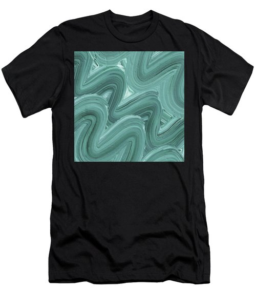 Gray Blue Waves Organic Abstract For Interior Decor X Men's T-Shirt (Athletic Fit)
