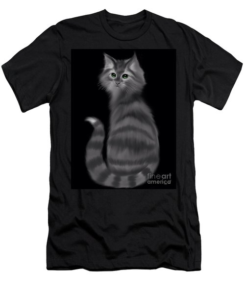 Men's T-Shirt (Slim Fit) featuring the painting Gray Striped Cat by Nick Gustafson