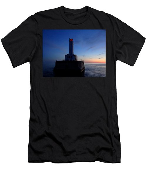 Grays Reef Lighthouse At Dusk Men's T-Shirt (Slim Fit) by Keith Stokes