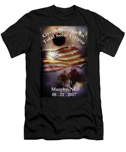 Great American Eclipse American Flag T Shirt Art Men's T-Shirt (Athletic Fit)