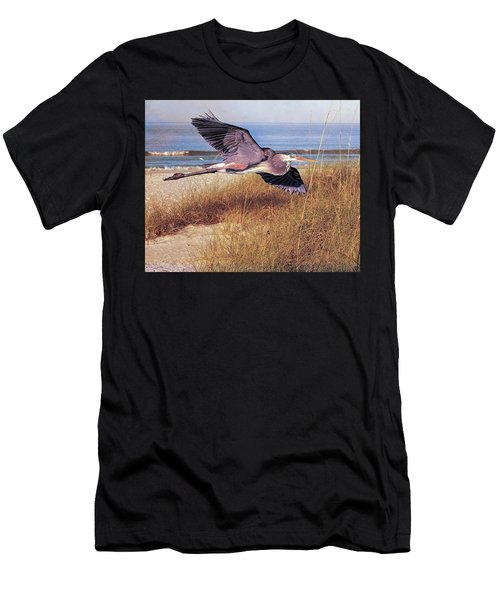 Great Blue Heron At The Beach Men's T-Shirt (Athletic Fit)