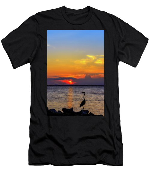 Great Blue Heron Silhouette Men's T-Shirt (Athletic Fit)