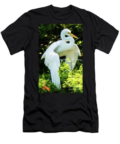 Great Egret Stretching Men's T-Shirt (Athletic Fit)