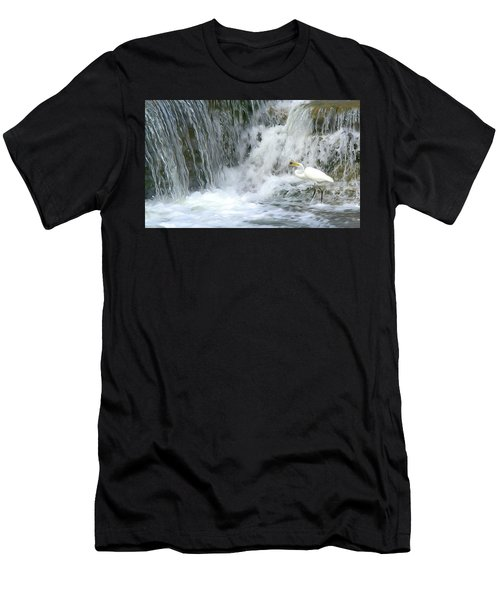 Great Egret Hunting At Waterfall - Digitalart Painting 3 Men's T-Shirt (Athletic Fit)