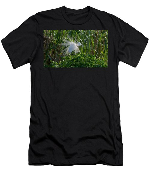 Great Egret In Flight With Windy Plumage Men's T-Shirt (Athletic Fit)