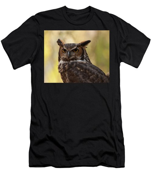 Men's T-Shirt (Slim Fit) featuring the photograph Great Horned Owl In A Tree 1 by Chris Flees