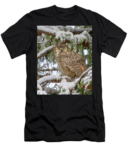 Great Horned Owl In Snow Men's T-Shirt (Athletic Fit)