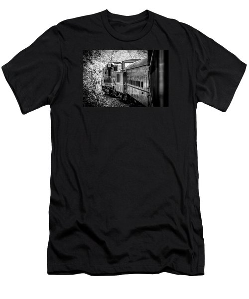 Men's T-Shirt (Slim Fit) featuring the photograph Great Smokey Mountain Railroad Looking Out At The Train In Black And White by Kelly Hazel