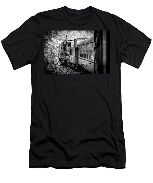 Great Smokey Mountain Railroad Looking Out At The Train In Black And White Men's T-Shirt (Athletic Fit)