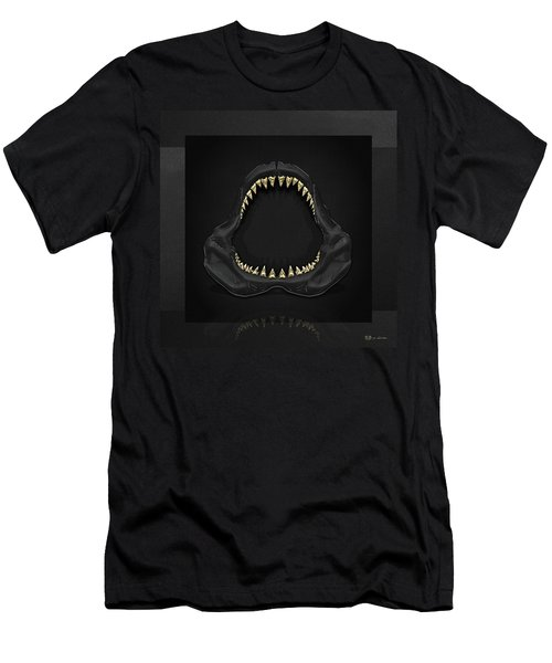 Great White Shark Jaws With Gold Teeth  Men's T-Shirt (Slim Fit) by Serge Averbukh