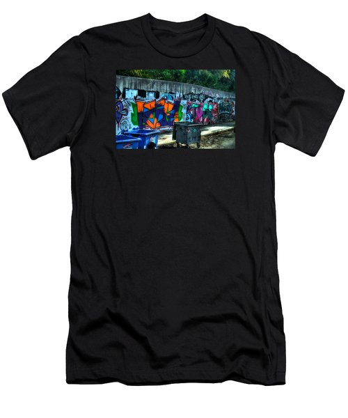 Men's T-Shirt (Slim Fit) featuring the photograph Greek Graffiti With Garbage Bins by Richard Ortolano