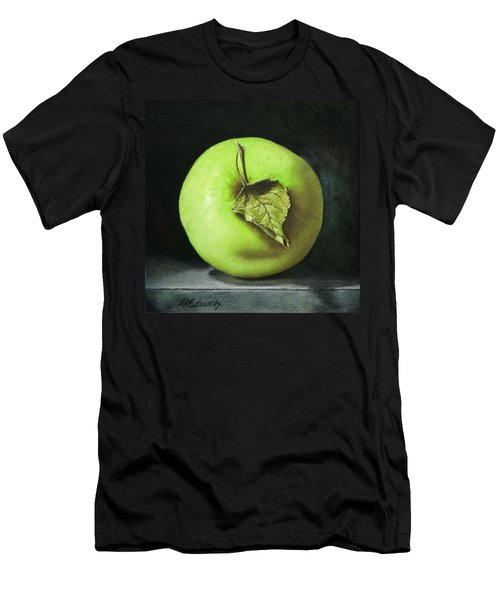 Green Apple With Leaf Men's T-Shirt (Athletic Fit)