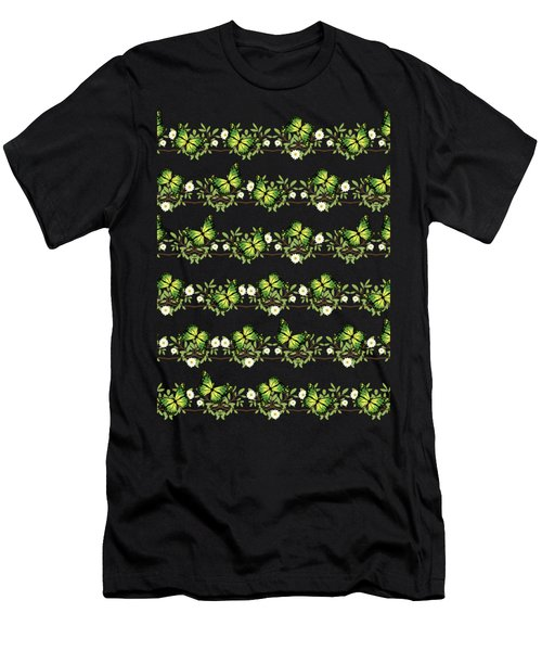Green Butterflies Pattern Men's T-Shirt (Athletic Fit)