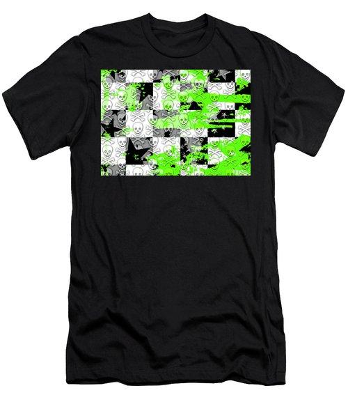 Green Checker Skull Splatter Men's T-Shirt (Athletic Fit)
