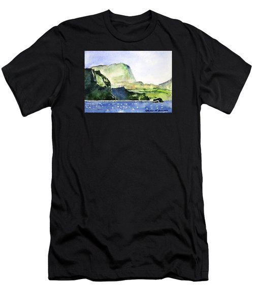 Green Cliffs And Sea Men's T-Shirt (Athletic Fit)