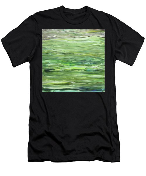 Green Gray Organic Abstract Art For Interior Decor I Men's T-Shirt (Athletic Fit)