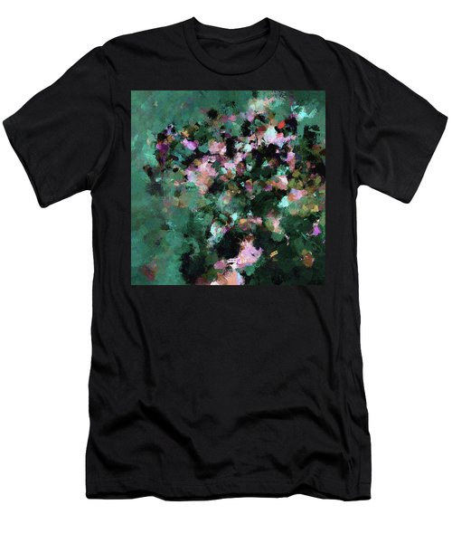 Men's T-Shirt (Slim Fit) featuring the painting Green Landscape Painting In Minimalist And Abstract Style by Ayse Deniz