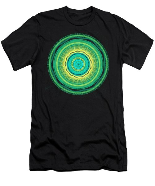 Green Mandala Men's T-Shirt (Slim Fit) by Martin Capek