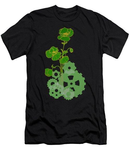 Green Mechanical Flowers Men's T-Shirt (Athletic Fit)