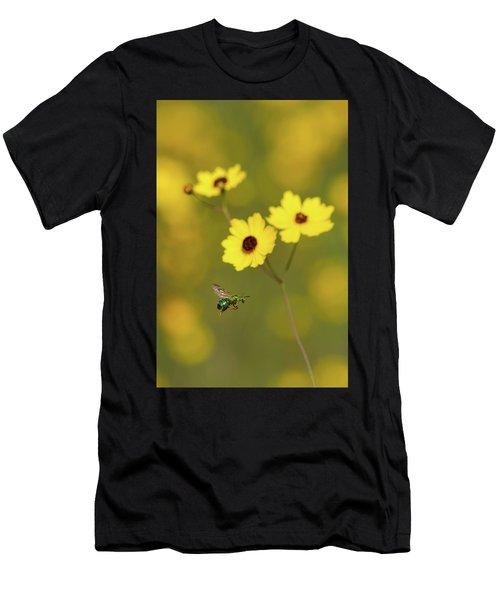 Green Metallic Bee Men's T-Shirt (Athletic Fit)