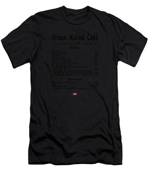 Green Midget Cafe Menu T-shirt Black Letters Men's T-Shirt (Athletic Fit)