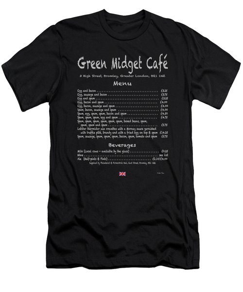 Green Midget Cafe Menu T-shirt Men's T-Shirt (Slim Fit) by Robert J Sadler