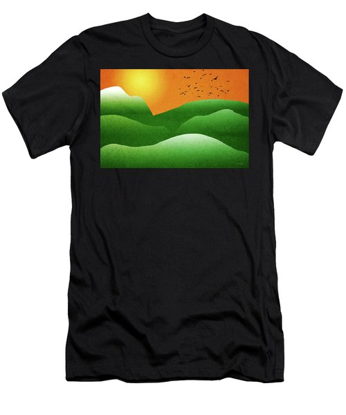 Green Mountain Sunrise Landscape Art Men's T-Shirt (Athletic Fit)