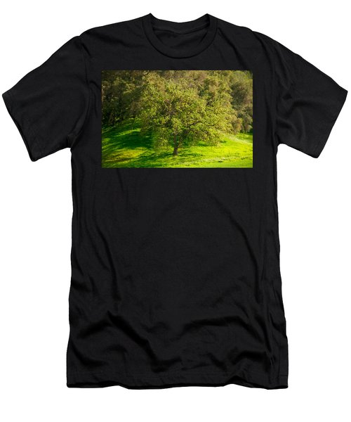 Green Oak Tree And Grasses Men's T-Shirt (Athletic Fit)