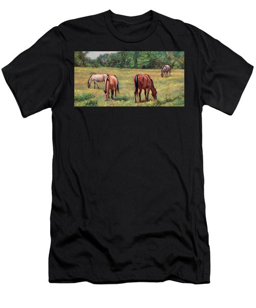 Green Pastures - Horses Grazing In A Field Men's T-Shirt (Athletic Fit)