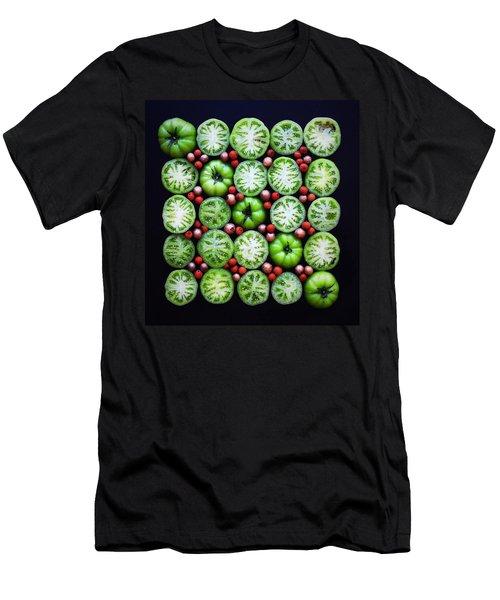 Green Tomato Slice Pattern Men's T-Shirt (Athletic Fit)