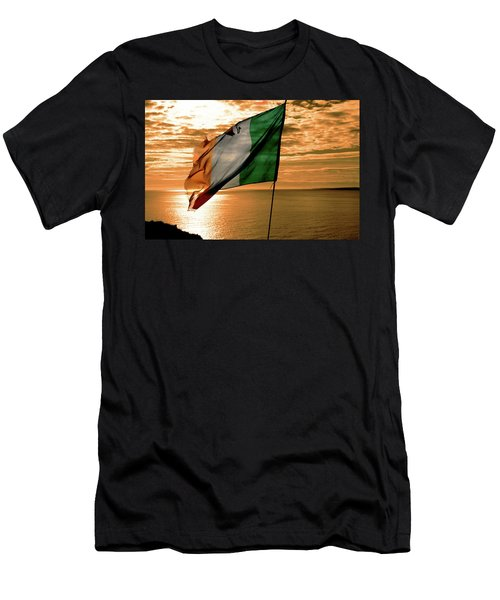 Flag Of Ireland At The Cliffs Of Moher Men's T-Shirt (Athletic Fit)