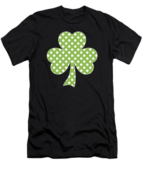 Greenery Shamrock Clover Polka Dots St. Patrick's Day Men's T-Shirt (Athletic Fit)