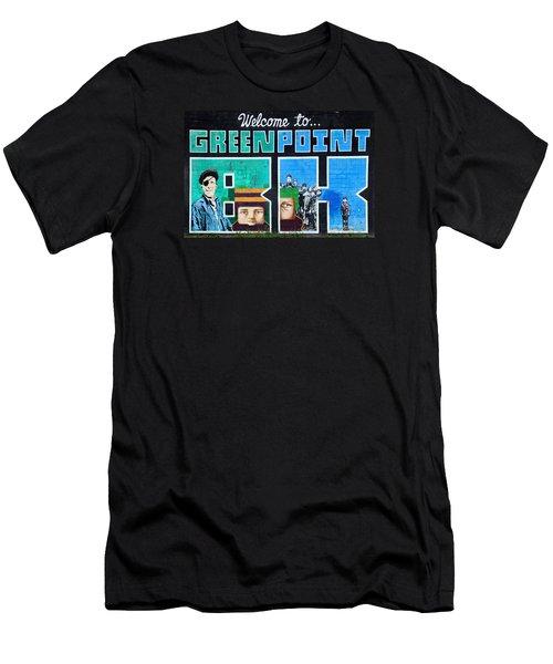 Men's T-Shirt (Slim Fit) featuring the photograph Greenpoint Brooklyn Wall Graffiti by Nina Bradica