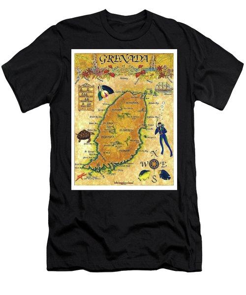 Grenada, Isle Map, Scuba Diving Men's T-Shirt (Athletic Fit)