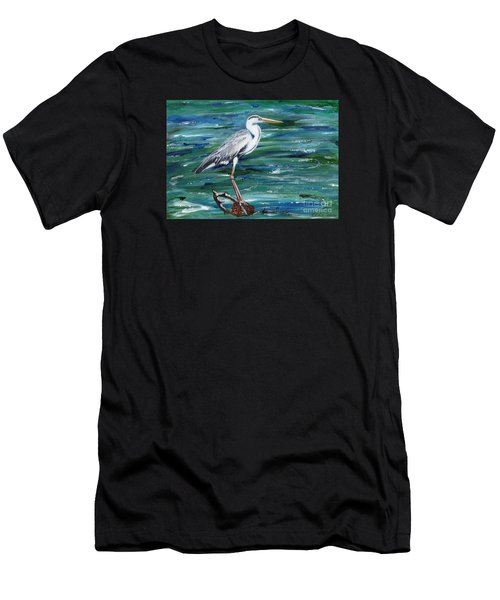 Grey Heron Of Cornwall -painting Men's T-Shirt (Athletic Fit)