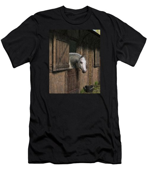 Grey Horse In The Stable - Waiting For Dinner Men's T-Shirt (Slim Fit) by Jayne Wilson