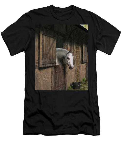 Grey Horse In The Stable - Waiting For Dinner Men's T-Shirt (Athletic Fit)