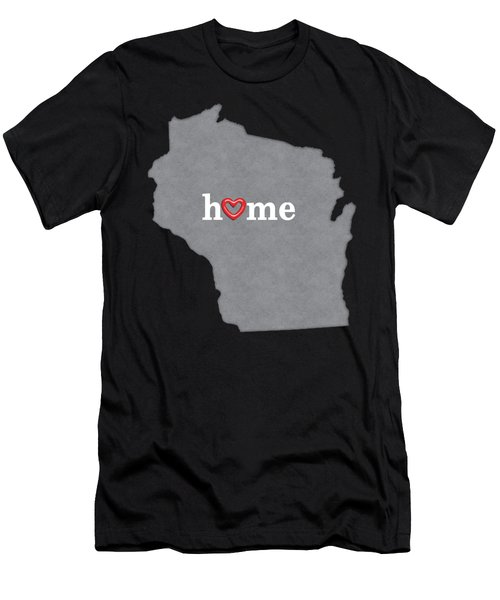 State Map Outline Wisconsin With Heart In Home Men's T-Shirt (Athletic Fit)