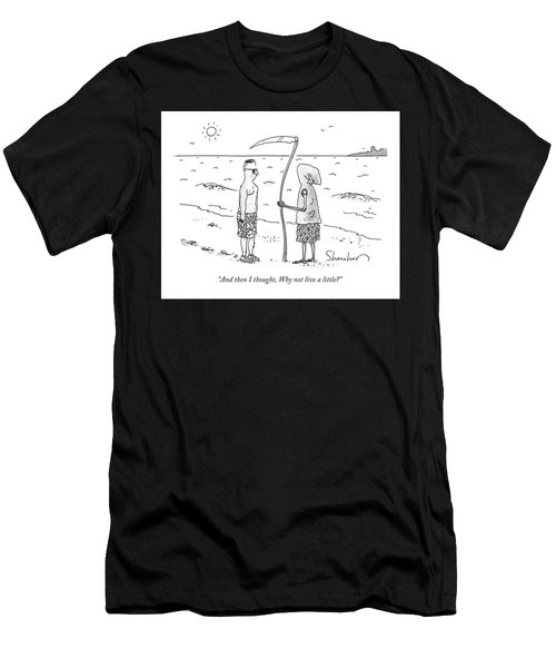 Grim Reaper Wearing A Swimsuit At The Beach. Men's T-Shirt (Athletic Fit)