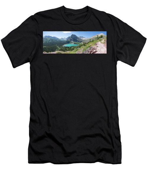 Grinnell Lake Panoramic - Glacier National Park Men's T-Shirt (Athletic Fit)