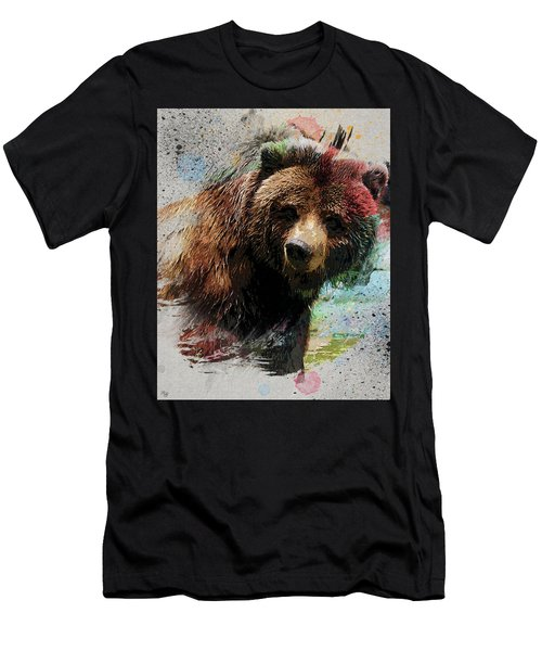 Grizzly Bear Art Men's T-Shirt (Slim Fit) by Ron Grafe