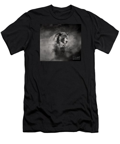 Men's T-Shirt (Slim Fit) featuring the photograph Grizzly Black And White In Clouds by Clare VanderVeen