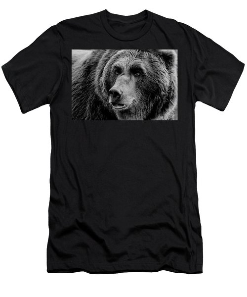 Grizzly Close Up Bw Men's T-Shirt (Athletic Fit)