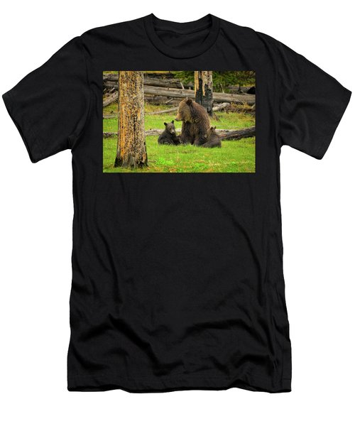 Men's T-Shirt (Athletic Fit) featuring the photograph Grizzly Family Gathering by Greg Norrell