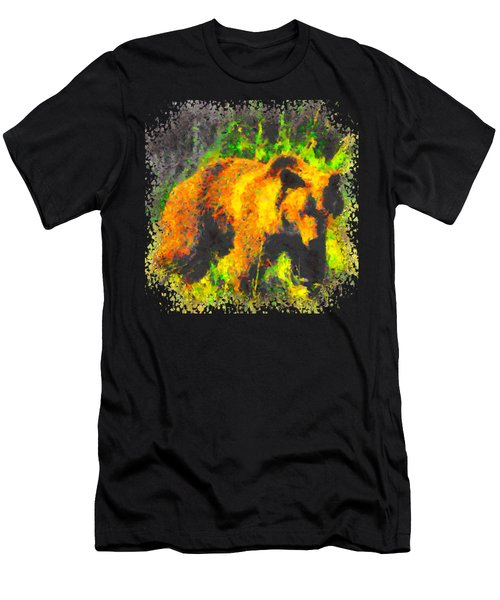 Grizzly In Field Men's T-Shirt (Athletic Fit)