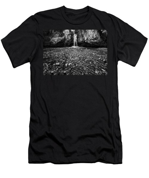 Grotto Falls In Black And White Men's T-Shirt (Athletic Fit)