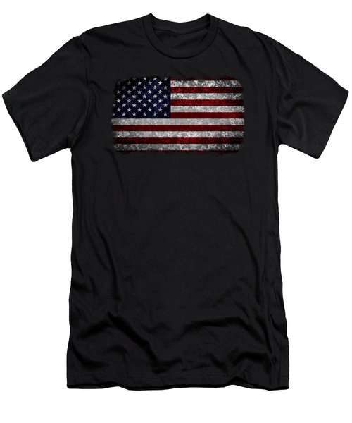 Grunge American Flag Men's T-Shirt (Slim Fit) by Martin Capek