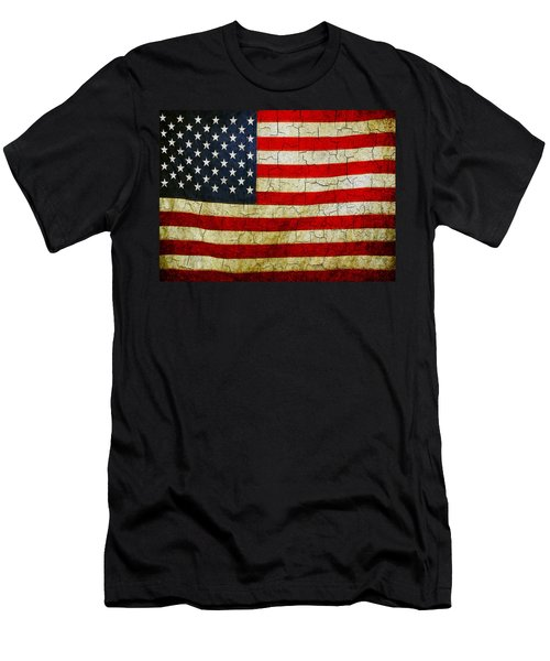 Grunge American Flag  Men's T-Shirt (Athletic Fit)
