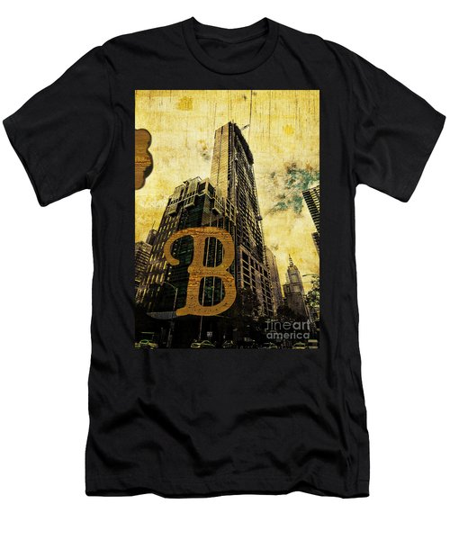 Grungy Melbourne Australia Alphabet Series Letter B Central Busi Men's T-Shirt (Athletic Fit)