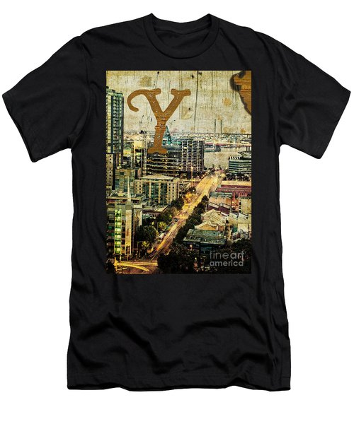 Grungy Melbourne Australia Alphabet Series Letter Y Yarra River Men's T-Shirt (Athletic Fit)